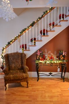 Hallway decor with stairs.