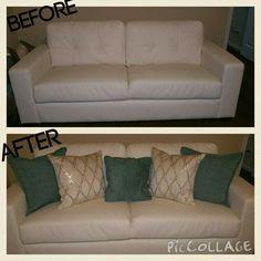 Soft white bonded leather sofa with a few throw pillows #kohls #fingerhut #home #decor # livingroom #crazychicdesign