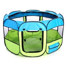 Pet Life Lightweight Collapsible Pet Playpen w/ Food & Water Bowls