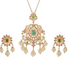 Buy all season green and pink stone studded Pendant Set Online at Low Prices in India | Amazon Jewellery Store - Amazon.in