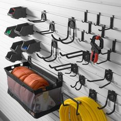 Gladiator GearTrack and GearWall Garage Hook Accessory Kit 2 at The Home Depot - Mobile Garage Hooks, Garage Wall Storage, Wall Storage Systems, Garage Storage Solutions, Garage Door Opener, Diy Garage, Garage Ideas, Garage Signs, Garage Gym