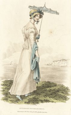 1812 White gown with blue shawl, bonnet trim and parasol. Belle assemblee,