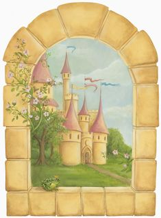 cute window mural for kids playroom. The Castle Window Mural - Morgan Evan-Thorne| Murals Your Way