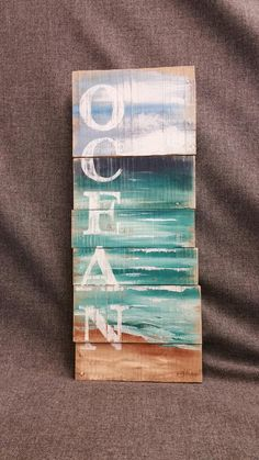 Pallet Ocean Wall Art, Handmade sign seascape with OCEAN, Cottage, upcycled… Art Mural Palette, Palette Wall, Pallet Wall Art, Wood Wall Art, Pallet Wood, Pallet Walls, Beach Wall Art, Unique Wall Art, Beach Signs