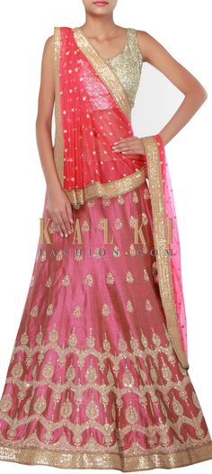 Buy Online from the link below. We ship worldwide (Free Shipping over US$100) http://www.kalkifashion.com/pink-lehenga-adorn-i-zari-and-sequin-embroidery-only-on-kalki.html