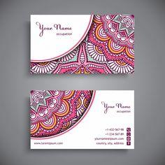 Tarjeta corporativa decorada con mandalas rosas Vector Gratis