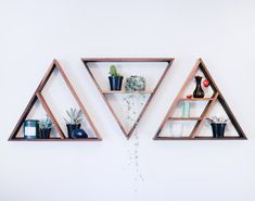 Triangle Shelves : Triangles shelves made from reclaimed walnut. Sealed with Rubio Monocoat oil. Perfect for candles, succulents, etc. Display Shelves, Ikea Shelves, Closet Shelves, Hanging Shelves, Corner Shelves, Kitchen Shelves, Storage Shelves, Wall Shelves, Wicca