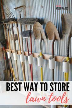 Organize your garage by making a PVC garden tool storage . - Organize your garage by building a PVC garden tool storage – Organize your garage by building a P - Garage Tool Storage, Garage Tools, Shed Storage, Wall Storage, Diy Storage, Outdoor Storage, Storage Racks, Garage Shelving, Yard Tool Storage Ideas