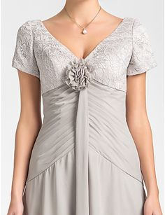 A-line V-neck Asymmetrical Lace And Chiffon Mother of the Bride Dress – USD $ 99.99