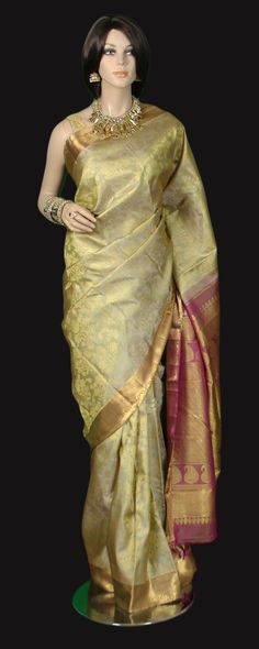 Beige all Gold Kanjeevaram Saree