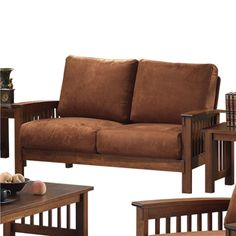 Monterey Loveseat - This Monterey Loveseat in rust microfiber will add color to your home. This bright loveseat will seat two people and is covered in soft, silky microfiber....