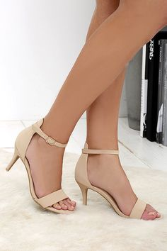 You'll be looking highly refined in the Published Author Nude Nubuck Ankle Strap Heels! Vegan nubuck suede shapes a sturdy toe strap and ankle strap with gold buckle.