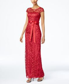 Adrianna Papell Cap-Sleeve Illusion Lace Gown - Dresses - Women - Macy's