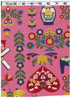HALF YARD  Kokka Trefle Fabric Scandinavian Motifs by fabricsupply, $9.75