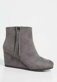 Darcie faux suede wedge booties with side zipper in gray (original price, $39.00) available at #Maurices