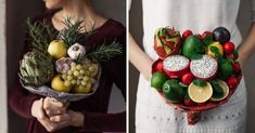 Stunning and Unique Bouquets You Can Actually Eat Beautiful Wedding Cakes, Dream Wedding, Diy Projects Cans, Heirloom Roses, Making A Bouquet, Color Palate, Fresh Fruits And Vegetables, Floral Headbands, Christmas Wreaths