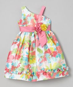This Pink Neon Floral Ruffle Asymmetrical Dress - Toddler & Girls by Jayne Copeland is perfect! #zulilyfinds