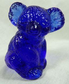 Hazel the Koala Bear Solid Cobalt Blue Glass 3-4-2002