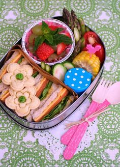 Strawberry, asparagus, and cute little sandwiches