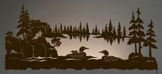"""57"""" Swimming Loons Scenic LED Back Lit Lighted Metal Wall Art"""