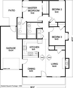 Bungalow floor plans, 3 bedroom house and House plans on