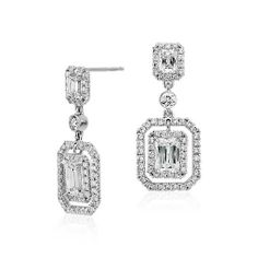 Brilliant Emerald-Cut Diamond Halo Double Drop Earrings in 18k White Gold  $17000