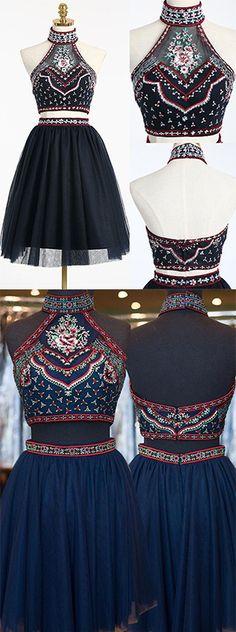 Black Two Piece Homecoming Dress with Embroidery,Two Piece Prom Dress,Short A-line Homecoming Gown,High Neck Graduation Dress,Sweet 16 Dress