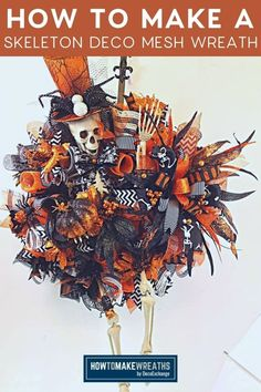 Learn how to make a skeleton deco mesh wreath that is festive and fun with our tutorial! This is an awesome Halloween door decor!