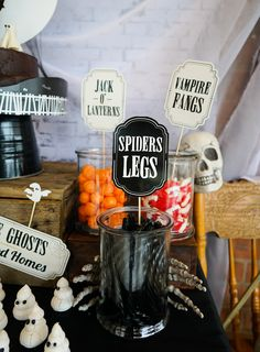 Halloween Party Decorations and signs - dont miss out! Spiders legs and Vampire Fangs - just download, edit and print for awesomeness!