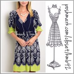 "Navy & Lime Printed Dress Navy & lime white print design. Ruffle detail sleeves & an appealing v-neckline. Elasticized waistline. A-line.   Poly/Spandex blend.   Available in sizes: 4, 6, 8.   Size 4 - Bust: 30""; Length 31"" Size 6 - Bust: 32""; Length 32""  Size 8 - Bust: 34""; Length 33""  Item # 0155 Threads & Trends Dresses"