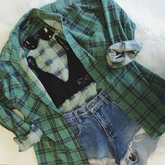 Vintage flannel, Sheer Intuition Bralette, & Classy Sunnies