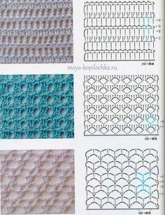 Delicadezas en crochet Gabriela: Patrones gratis ; Cuadrículas con muestras tejidas y puntos
