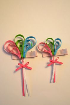 Balloon Ribbon Sculpture Hair Clip - Pink, Green, Blue - Birthday, Party, Celebrations. $4.00, via Etsy.