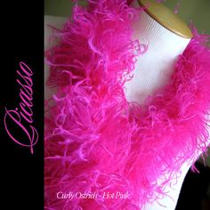 Curly Ostrich Feather Marabou Boa Hot PINK by PicassoAppliques, $6.90