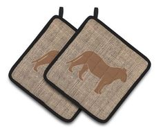 Tiger Faux Burlap and Brown Pair of Pot Holders BB1010-BL-BN-Pthd