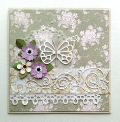 "Card flowers butterfly MFT flourish  - Tilda ""The Seaside Life"" paper design, MFT formal flourish Die-namics, memorybox butterfly die #Tilda #tildacard - JKE"