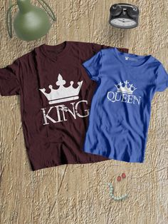 788e6af5f9 King and Queen Round Neck Couple T-Shirts - When two people fit together  perfectly