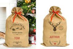 Le cadeau de Noël personnalisé : le sac hotte du Père Noël en toile de jute !