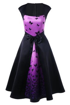 $18.53 Bowknot Embellished Butterfly Printed Square Neck Retro Dress - Black