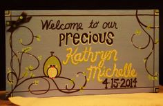 Baby Announcement keepsake  handpainted & by expressionshop, $32.00