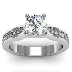 Cathedral Pavé Diamond Engagement Ring set in 18k White Gold  In stockSKU: S1013-18W