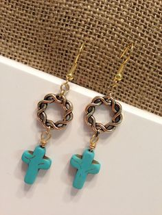 handmade dangle earrings/ twisted gold ring and turquoise cross beaded earrings on Etsy, $12.95