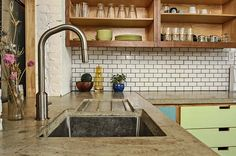 Concrete Countertops in Eclectic Neutral Kitchen Kitchen Countertop Materials, Concrete Kitchen, Kitchen Countertops, Interior Exterior, Modern Interior, Interior Paint, Countertop Options, Spa Inspired Bathroom, Kitchen Remodeling