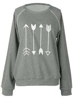 Casual in the right way with $23.99 Only! This arrow print sweatshirt with…
