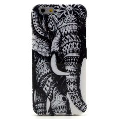 Mesh - iPhone 6 Hoesje - Back Case Siliconen Tribal Olifant Zwart | Shop4Hoesjes