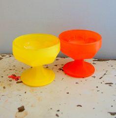 Vintage LEMON and ORANGE Ice Cream Bowls...set of 2. retro housewares. dish. bowl. kitsch. bright. colorful. dessert. vintage kitchen. eat.. $20.00, via Etsy.