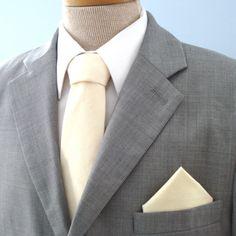 Men's Tie Cream Solid Ivory Off White Necktie by HandmadeByEmy