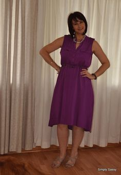 Purple shirt dress with pretty nude wedges for summer fun. #FashionExpress #Mr.Price
