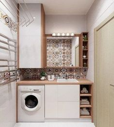 120 brilliant laundry room ideas for small spaces – practical & efficient page 2 Pantry Laundry Room, Laundry Room Layouts, Laundry In Bathroom, Laundry Room Design, Bathroom Design Small, Bathroom Interior Design, Modern Laundry Rooms, Modern Bathroom, Bathroom Towel Decor
