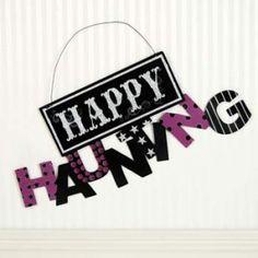 "$6.95 9"" x 20"" metal hanging sign (HAPPY HAUNTING)"